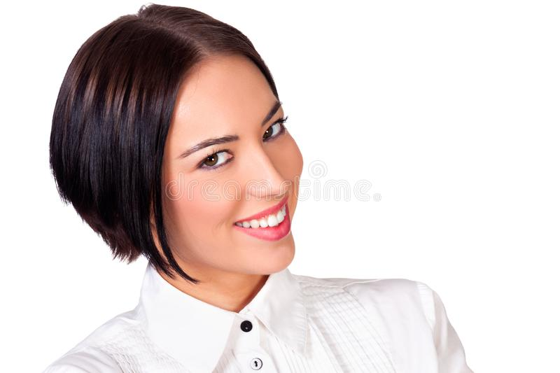 Smiling pretty girl against white background royalty free stock photos