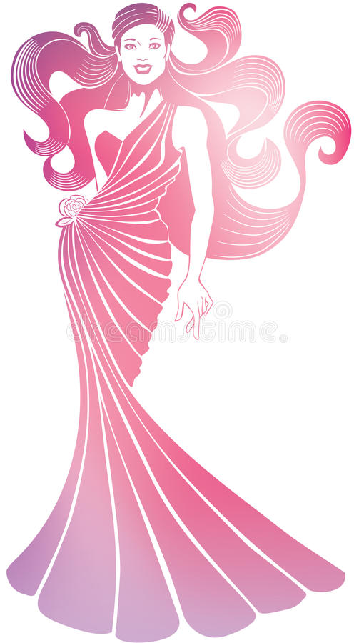 Download Smiling Pretty Girl In Long Flowing Evening Dress. Stock Vector - Image: 26480443