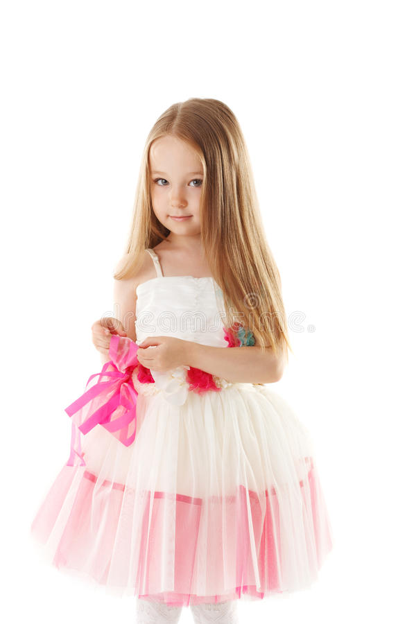 Smiling pretty little girl with long brown hair stock images