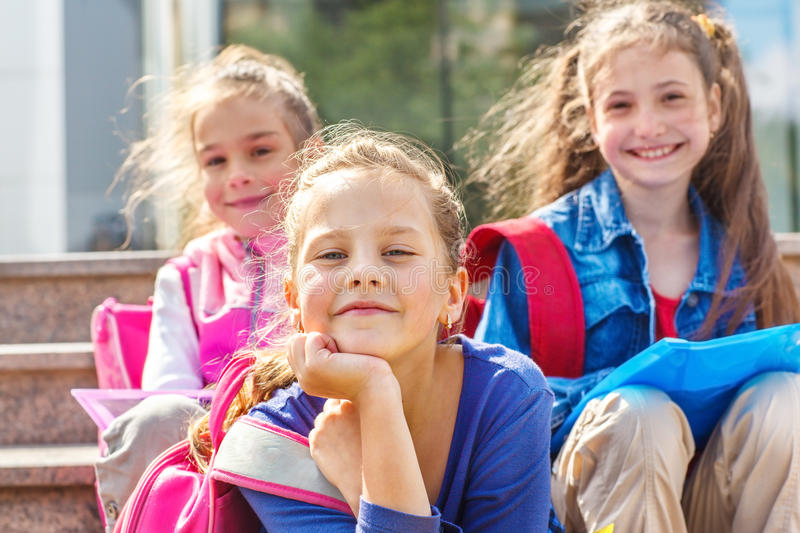 Smiling primary school students royalty free stock photography
