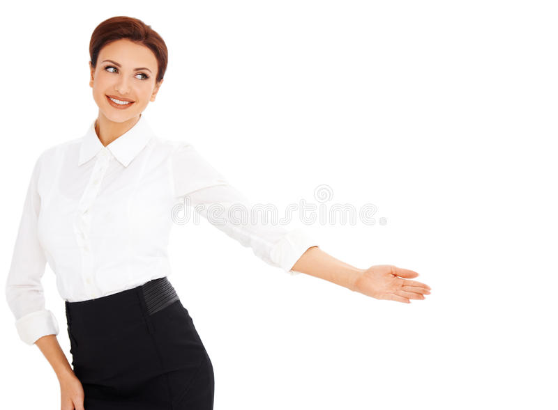 Smiling professional woman pointing stock image