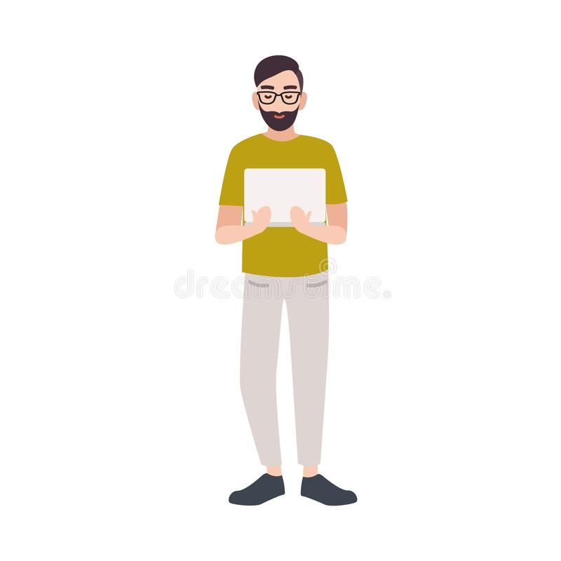 Smiling programmer, coder, web developer, software engineer or IT worker holding laptop. Happy male cartoon character stock illustration