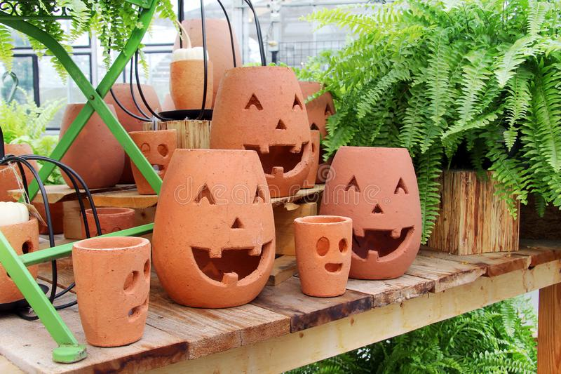 Smiling pumpkin ornaments for Halloween stock images