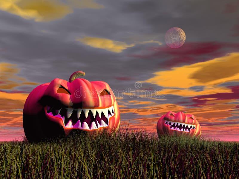 Smiling pumpkins for halloween - 3D render stock illustration