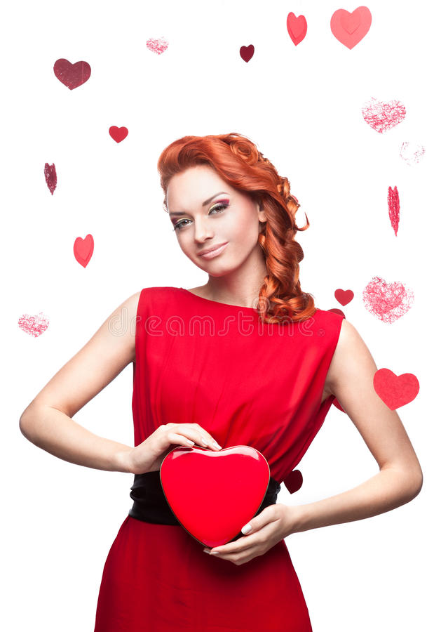 Download Smiling Red-haired Girl Holding Red Heart Stock Image - Image of pretty, adult: 27682713