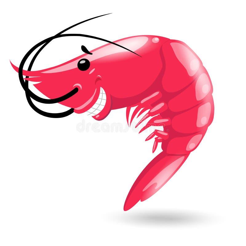 Smiling red sea cartoon shrimp on white background. Vector illustration stock illustration