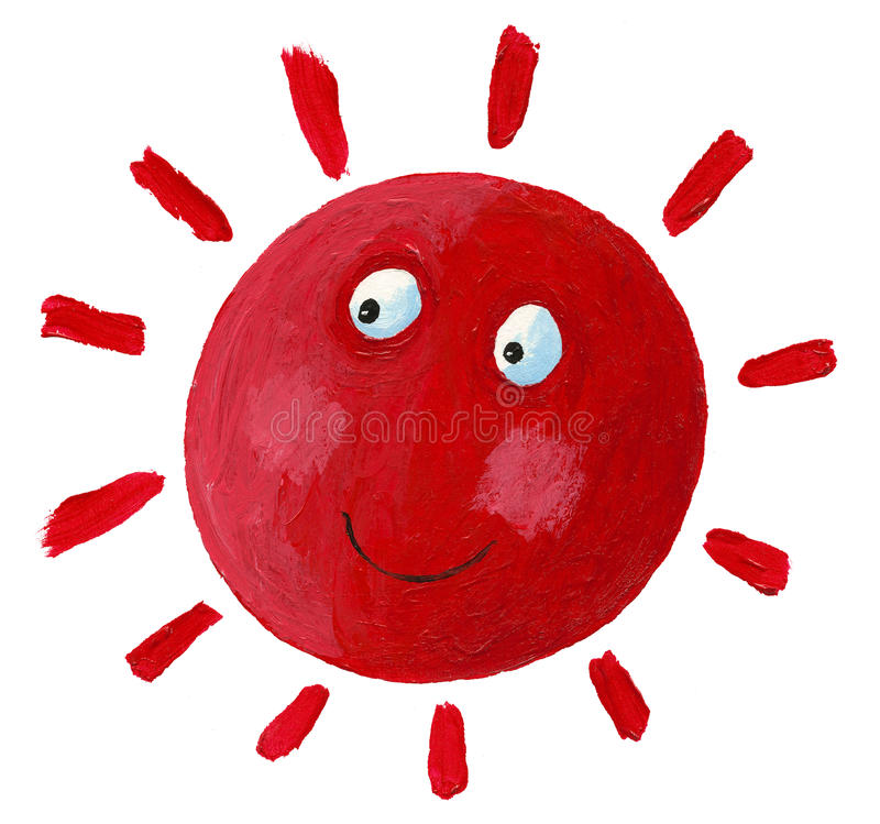 Smiling Red Sun Stock Photo