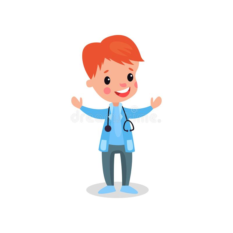 Smiling redhead boy doctor in professional clothing with stethoscope, kid playing doctor vector illustration royalty free illustration