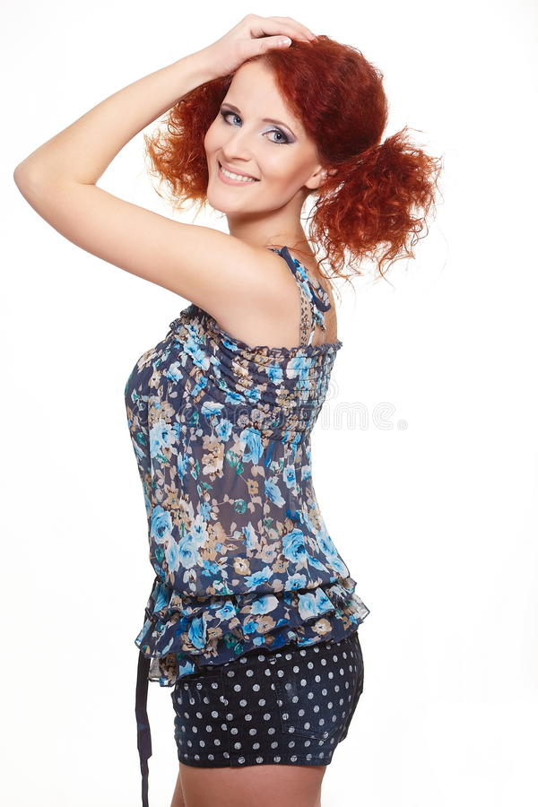 Smiling Redhead Ginger Woman In Summer Dress Royalty Free Stock Image