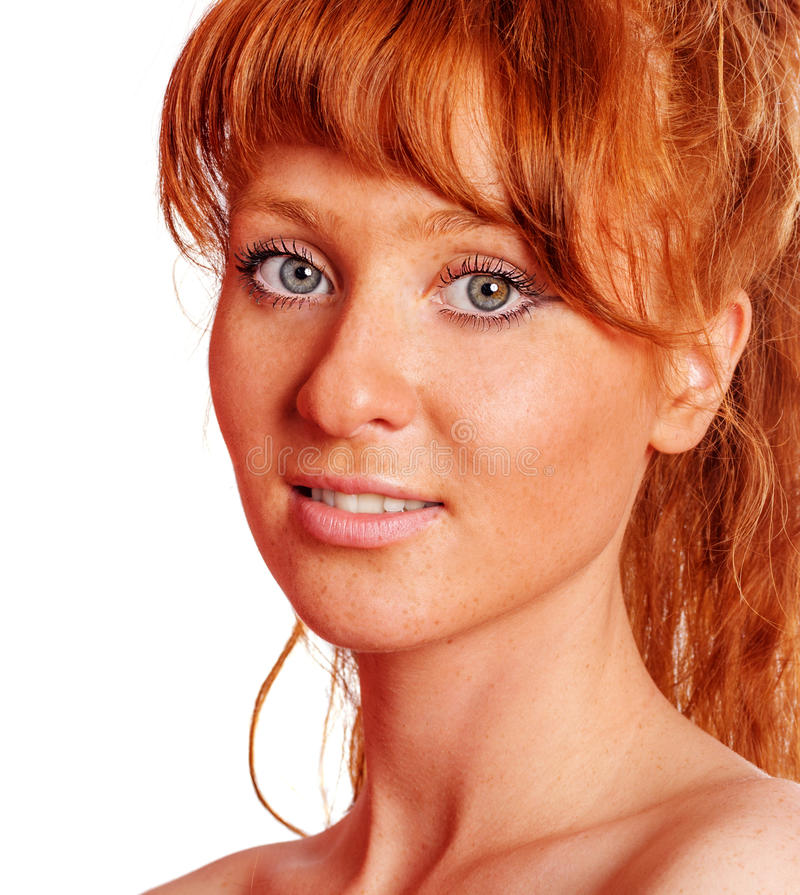 Smiling redhead woman stock photography