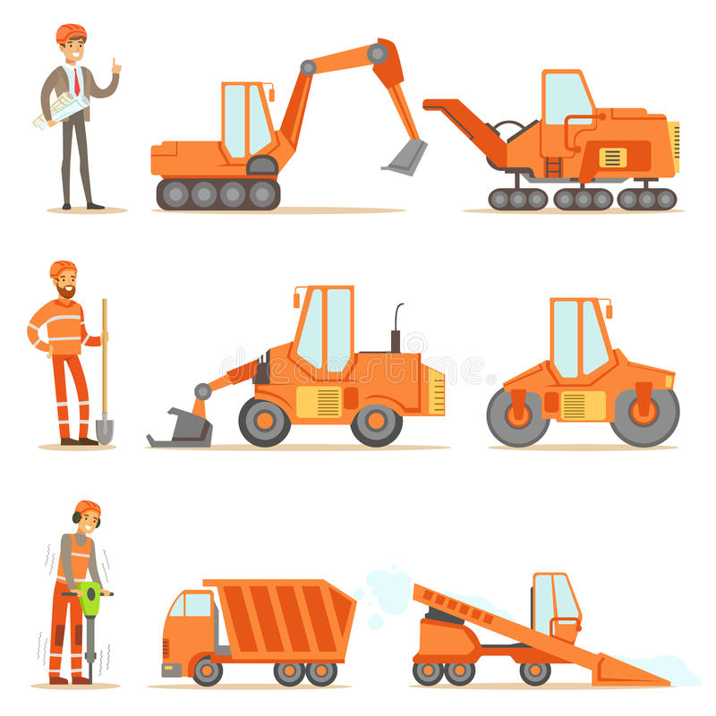Smiling Road Construction And Repair Workers In Uniform And Heavy Trucks At Construction Site Set Of Cartoon stock illustration