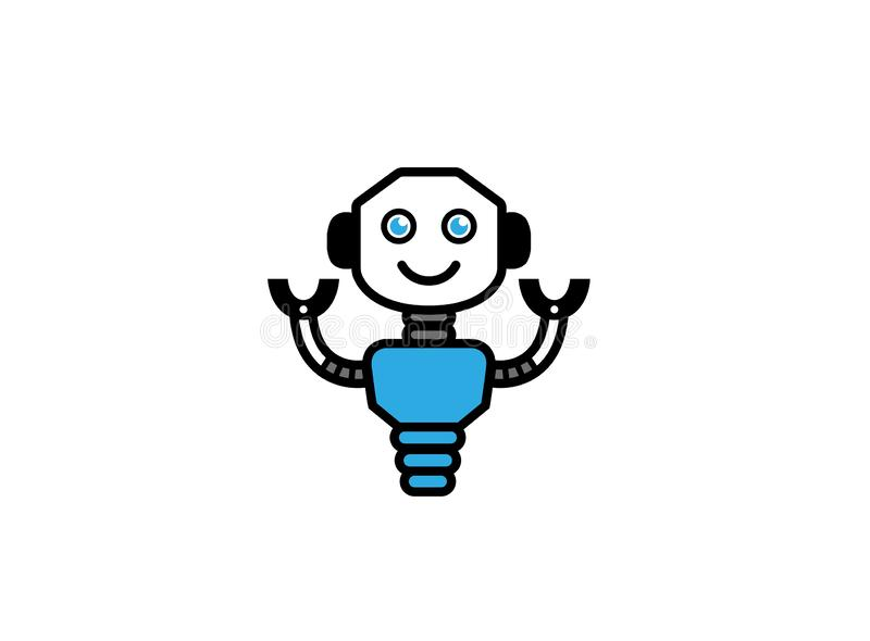 Smiling robot with hands up for logo. Esign illustration, happy icon stock illustration