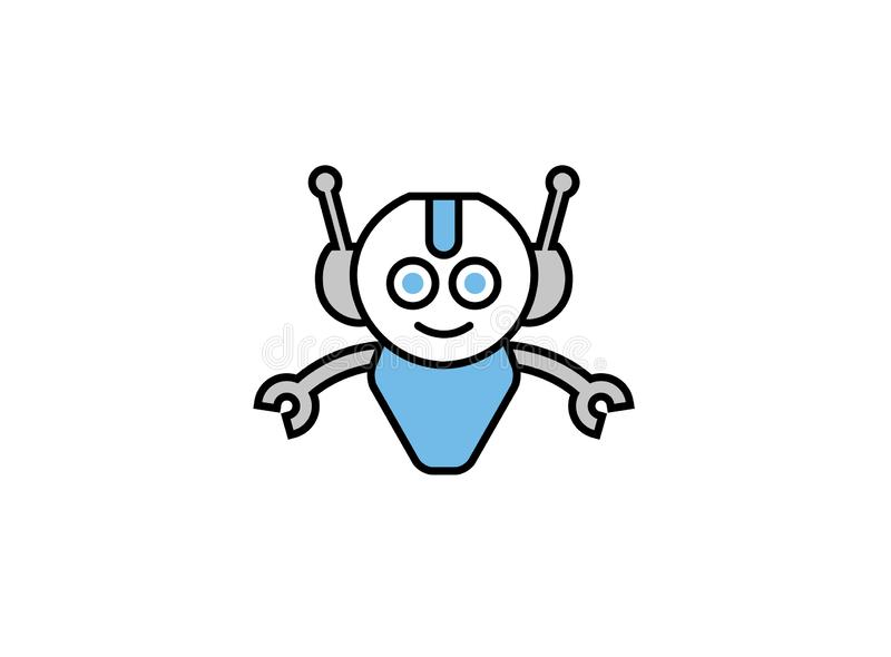 Smiling robot with open hands for logo. Esign illustration, smile icon happy symbol vector illustration