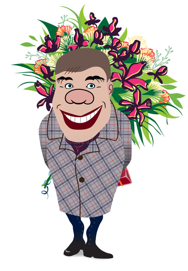 Download Smiling Romantic Man Giving Flowers Stock Photography - Image: 28194212