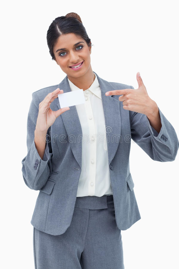 Download Smiling Saleswoman Pointing At Blank Business Card Stock Image - Image of paper, message: 22861497