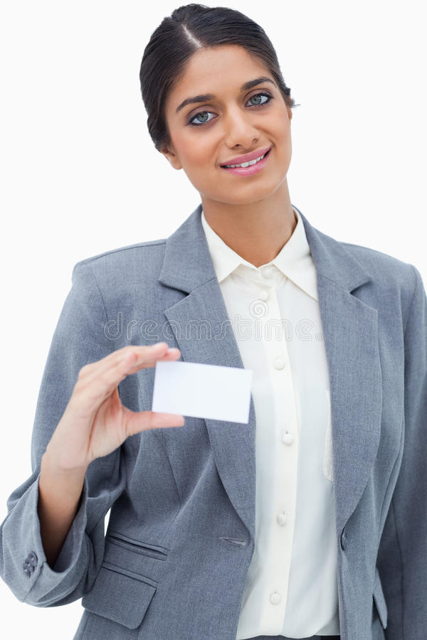 Download Smiling Saleswoman Showing Her Blank Business Card Stock Image - Image: 22861491