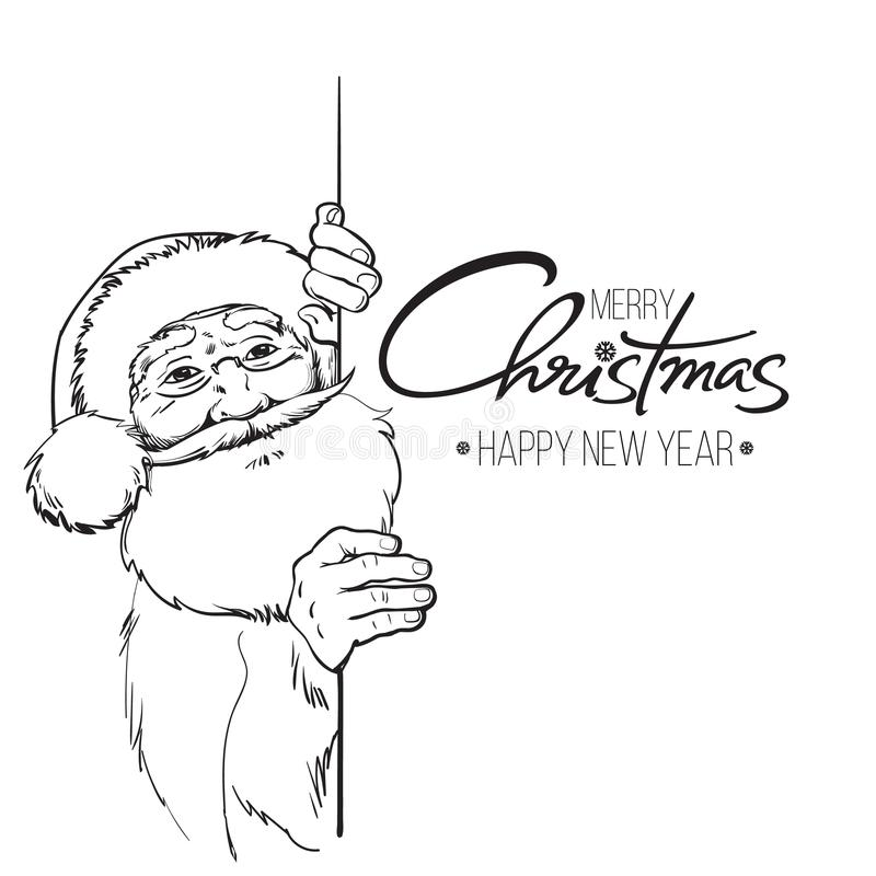 Smiling Santa Claus holding Merry Christmas text stock illustration