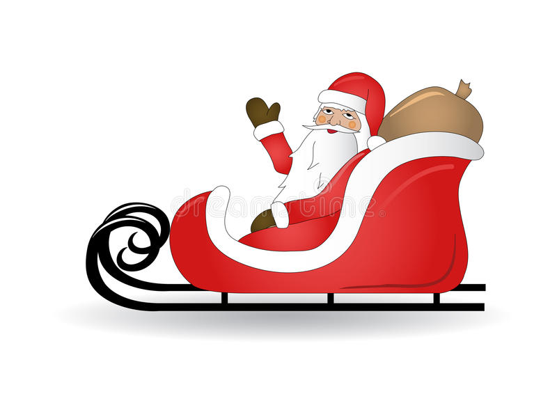 Download Smiling Santa Claus With Sled Stock Vector - Image: 22428757