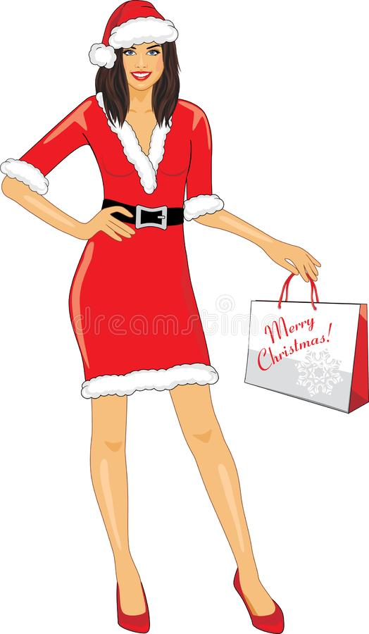 Smiling Santa girl with a Christmas shopping bag in hand stock illustration