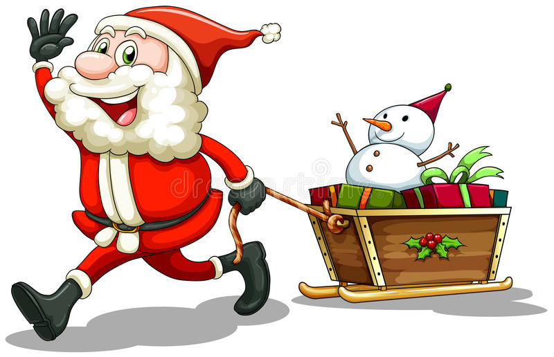 A smiling Santa pulling a sleigh royalty free illustration
