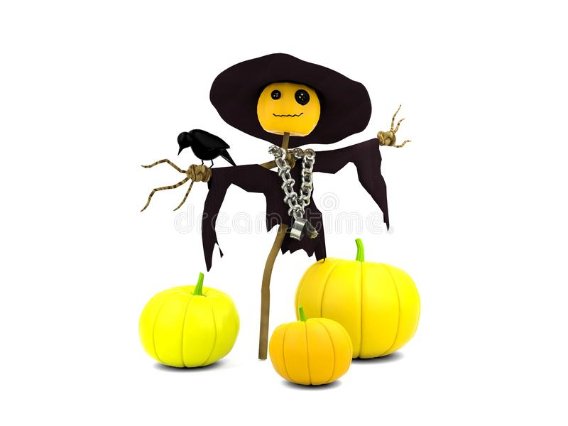 Smiling scarecrow and pumpkins royalty free stock photos