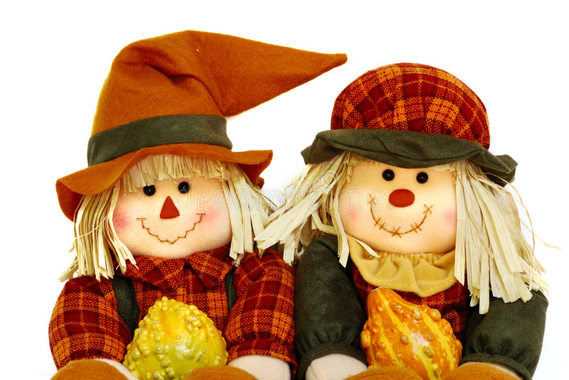 Smiling scarecrows royalty free stock image