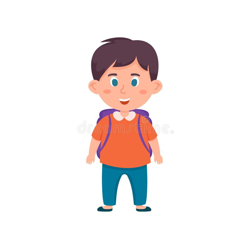 Smiling school boy with blue eyes and jeans pants vector illustration