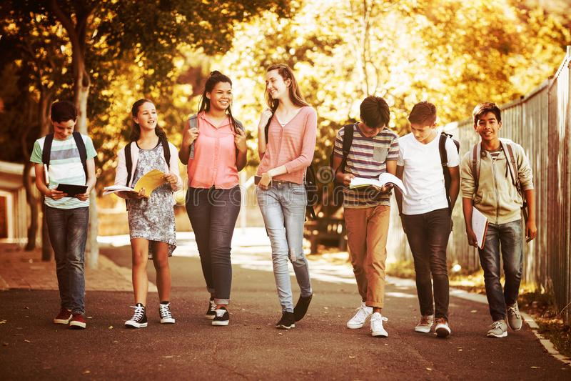 Smiling school kids walking on road in campus. At school royalty free stock images