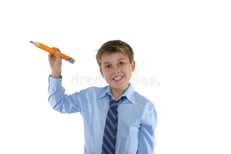 Download Smiling Schoolboy Holding A Pencil Royalty Free Stock Images - Image: 1328019