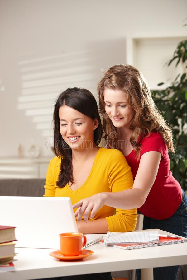 Download Smiling Schoolgirls Looking At Screen Stock Image - Image: 13326079