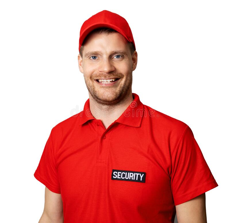 smiling security service worker in red uniform on white background royalty free stock images