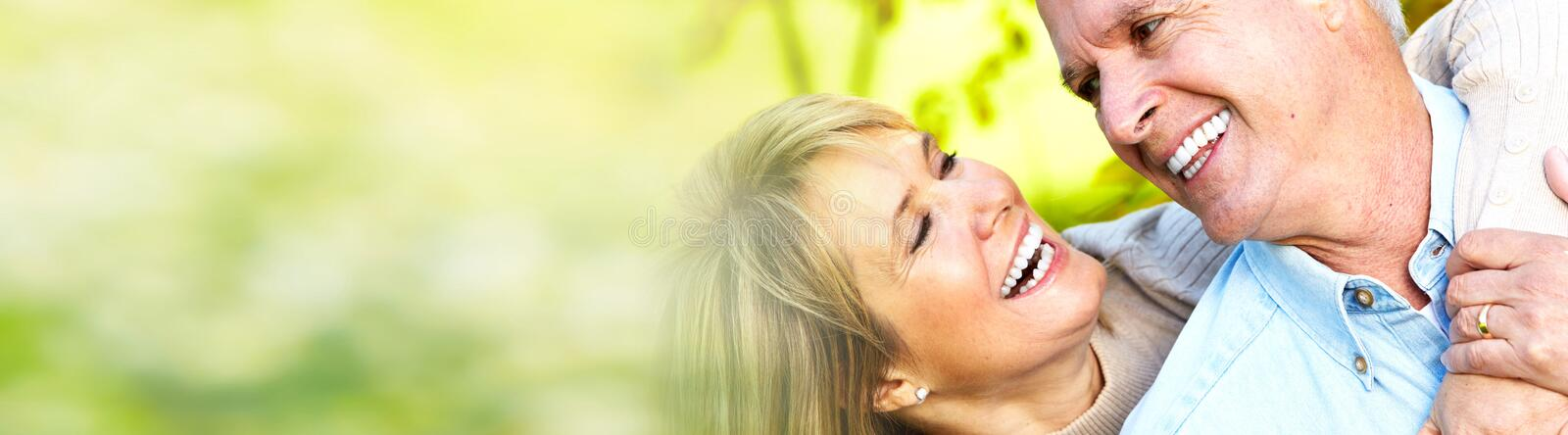 Download Smiling senior couple stock image. Image of banner, couple - 93056685