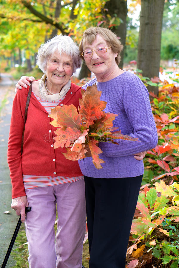 Smiling Senior Ladies Holding Autumn Leaves. Two Senior Ladies at the Pathway Holding Autumn Leaves and Looking at the Camera with Happy Facial Expression stock photos