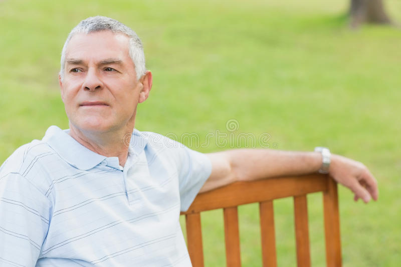 Smiling senior man relaxing at the park royalty free stock photo