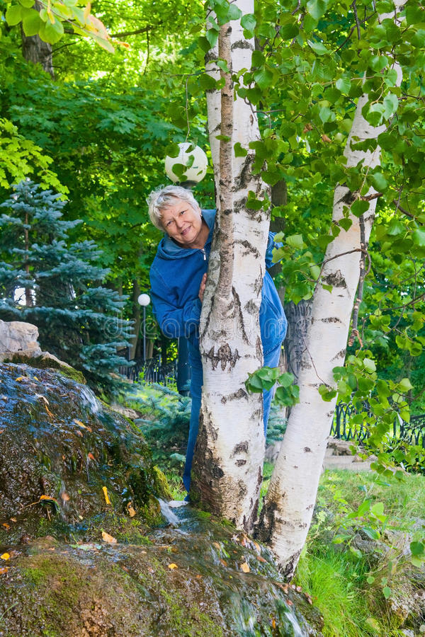 Smiling senior woman behind the birch stock photography