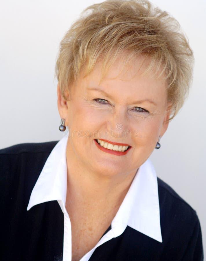 Smiling Senior Woman Face Stock Image