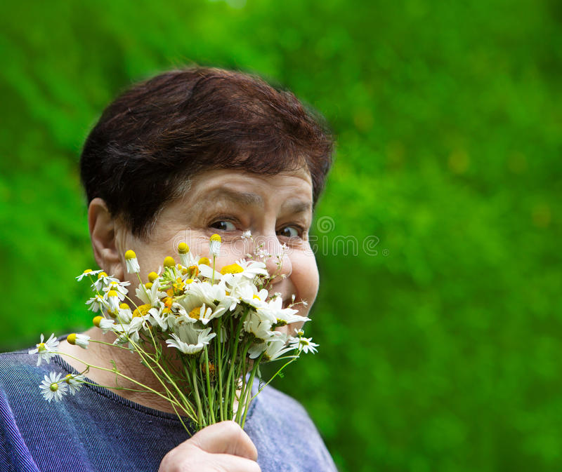 Smiling senior woman with field flowers. Smiling cheeky senior woman with field flowers in the hand on the background of green leaves royalty free stock images