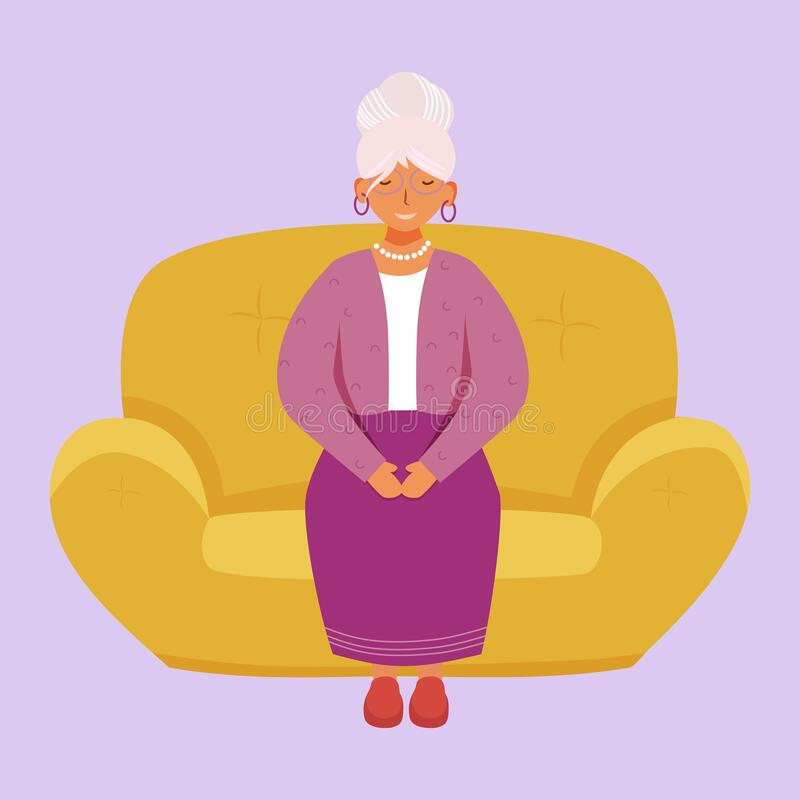 Free Smiling Senior Woman Flat Vector Illustration Stock Photos - 176997513
