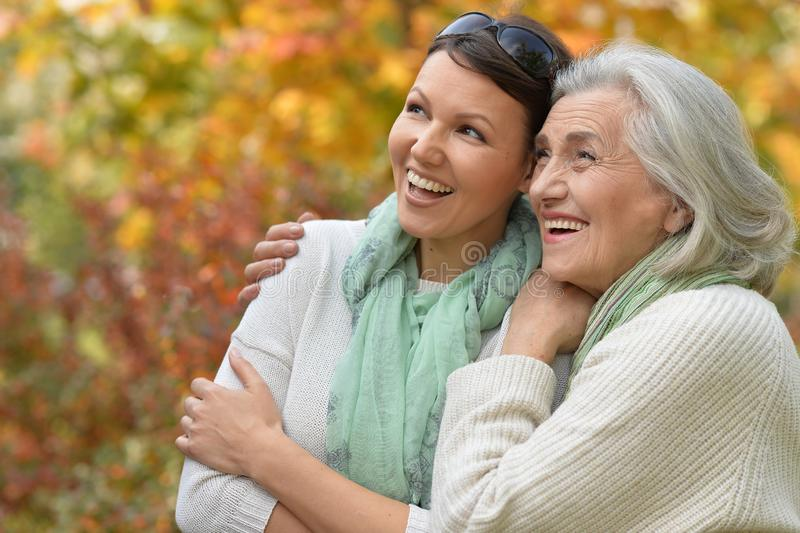 Close up portrait of smiling senior woman with adult daughter stock photo