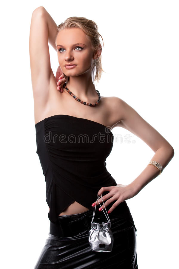 Smiling sensual pretty blonde girl with arm lifted royalty free stock photo