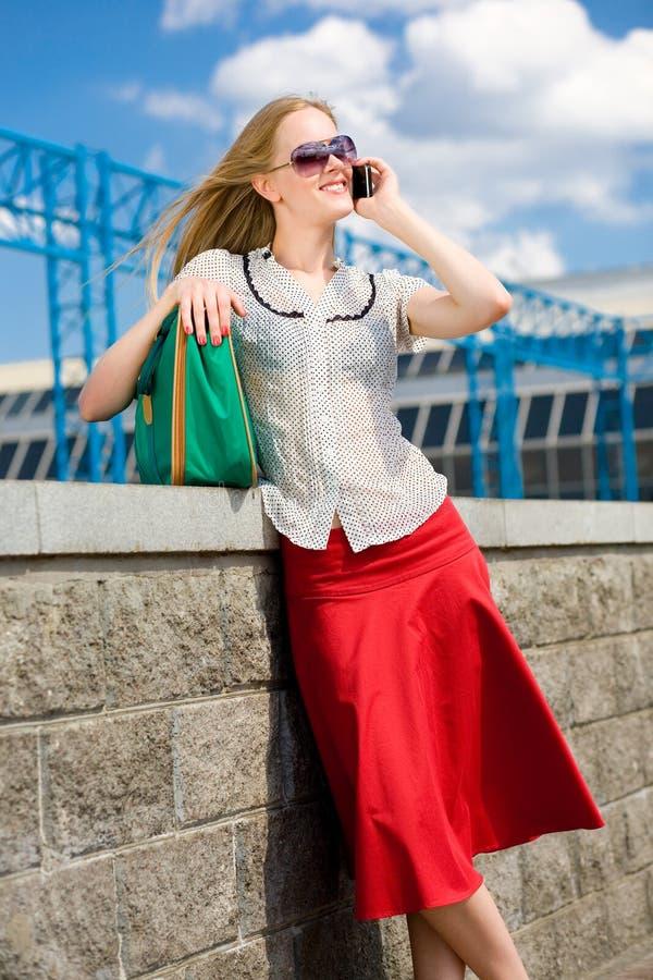 Download Smiling Blonde Girl Talking On Phone Stock Image - Image: 6983233