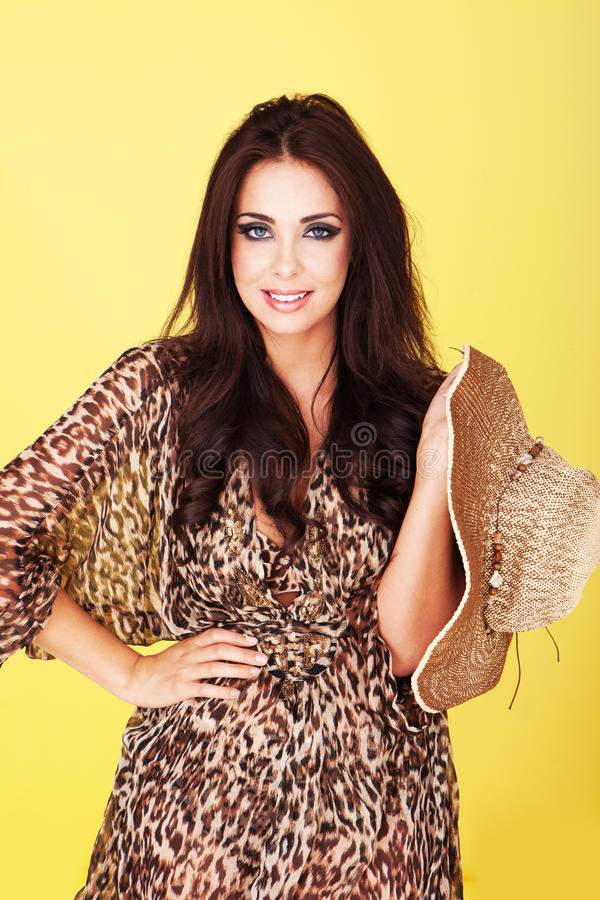 Smiling brunette in sheer outfit royalty free stock photography