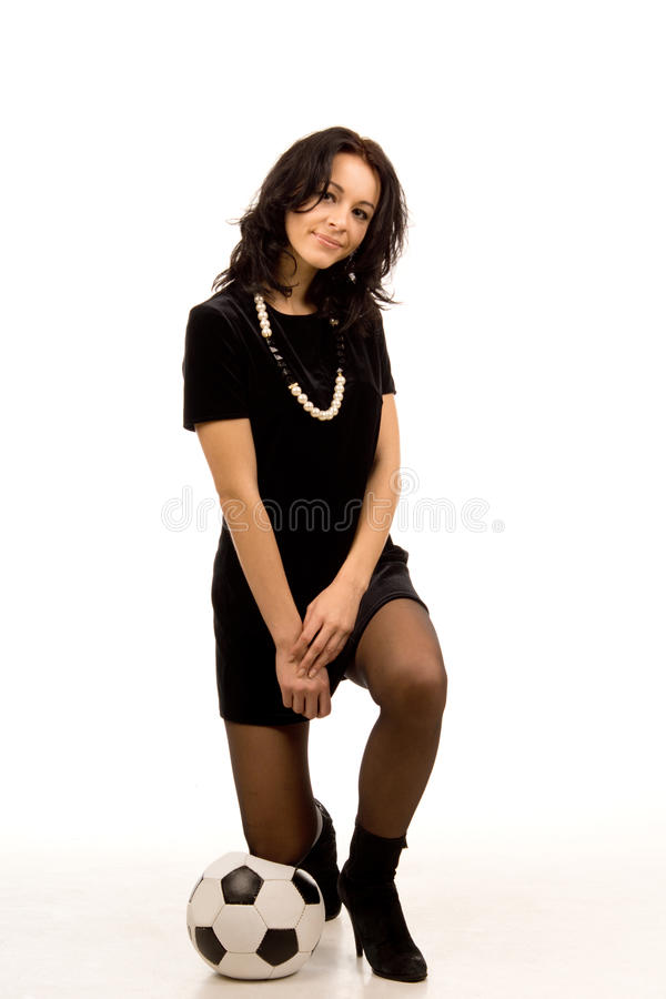 Download Smiling Woman With A Soccer Ball Stock Photo - Image: 28316132