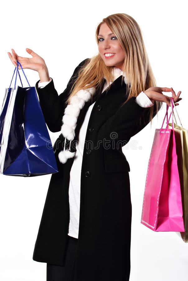Smiling shopper royalty free stock photos