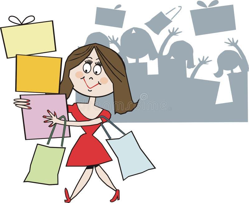 Download Smiling shopper cartoon stock illustration. Illustration of parcel - 13311646