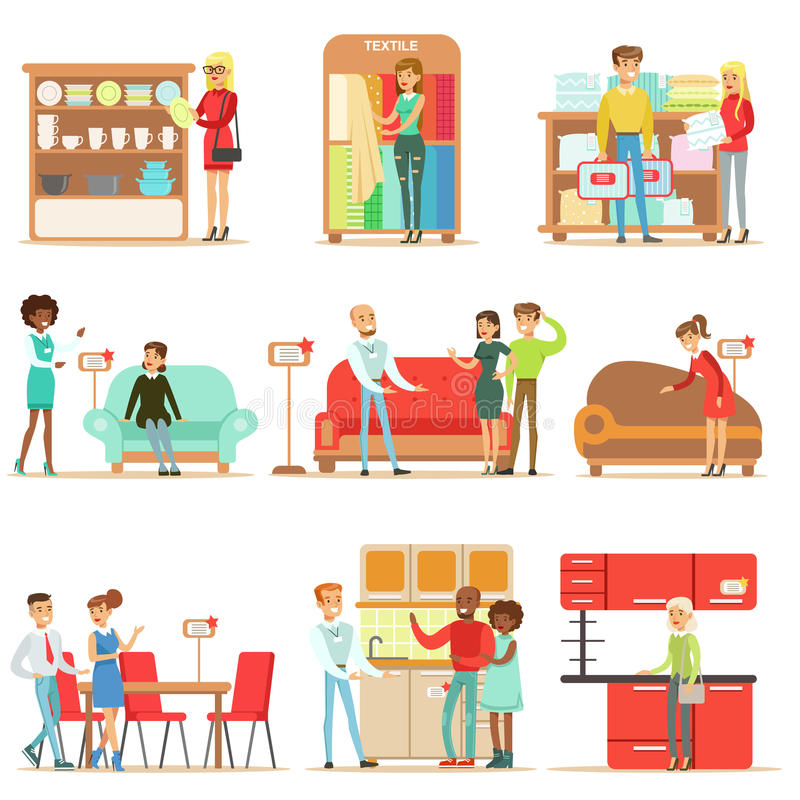 Smiling Shoppers In Furniture Shop, Shopping For House Decor Objects With Help Od Professional Department Store Sellers stock illustration