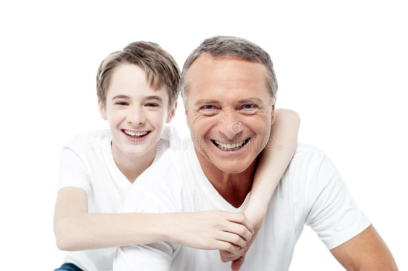 Smiling shot of a father and son royalty free stock photo