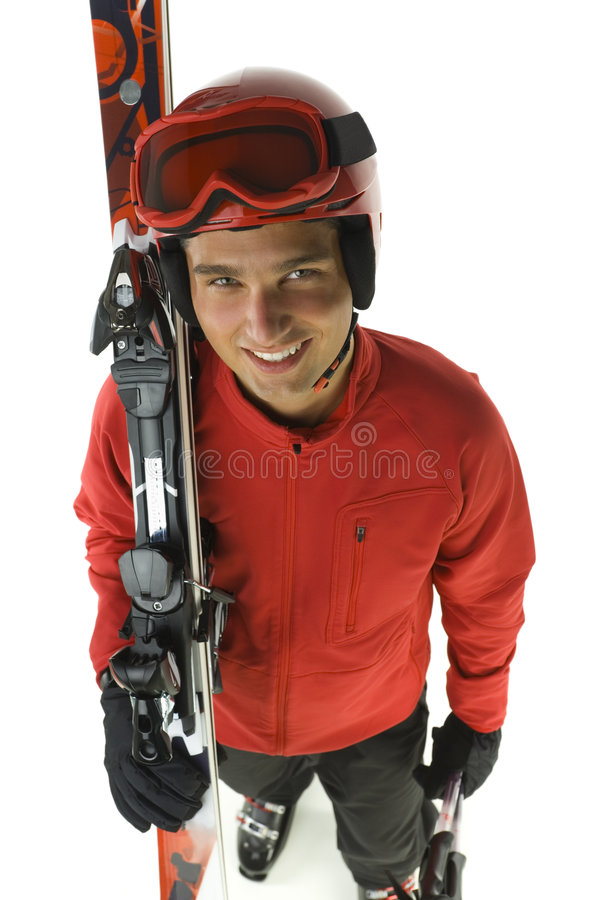 Smiling skier stock images