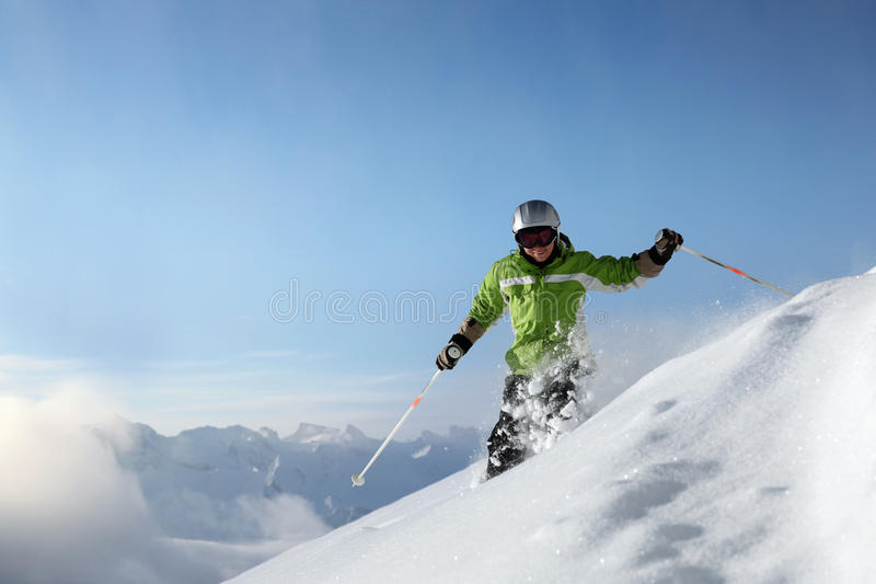 Smiling skier with view