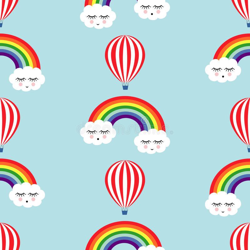 Smiling sleeping clouds, rainbows and hot air balloons seamless pattern. Cute baby shower vector background. Child drawing style vector illustration